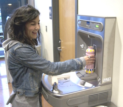 Western Washington University (WWU) water bottle refill station in student union 2, by WWU, used with permission.
